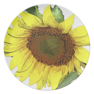 Plate Yellow sunflower