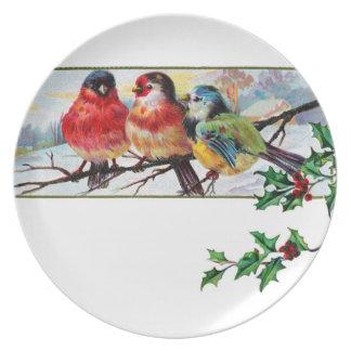 Platee 3 pájaros salvajes hermosos en una rama nev plato de cena