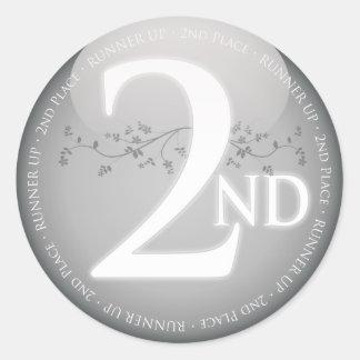 Platee el segundo 2do) premio del lugar ( pegatina redonda