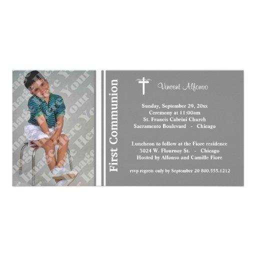 Platee la primera invitación de la foto de la comu tarjetas con fotos personalizadas