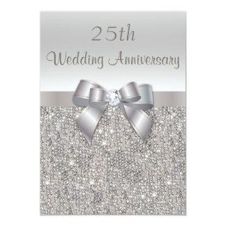 Platee las 25tas lentejuelas del aniversario de invitación 12,7 x 17,8 cm