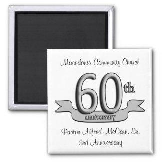 Platee los 60.os favores de fiesta de aniversario imán cuadrado