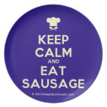 [Chef hat] keep calm and eat sausage  Plates