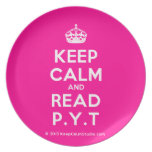 [Crown] keep calm and read p.y.t  Plates
