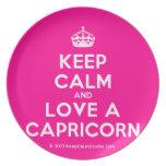 [Crown] keep calm and love a capricorn  Plates