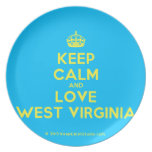 [Crown] keep calm and love west virginia  Plates