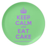 [Crown] keep calm and eat cake  Plates