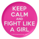 keep calm and fight like a girl  Plates