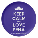 [Moustache] keep calm and love peha  Plates