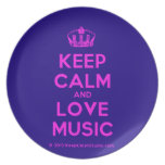 [Dancing crown] keep calm and love music  Plates