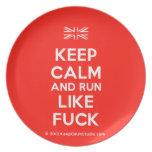 [UK Flag] keep calm and run like fuck  Plates