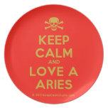 [Skull crossed bones] keep calm and love a aries  Plates