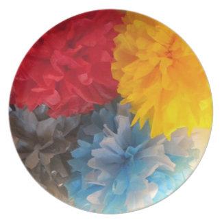 plates pom poms rainbow pouf red yellow blue gray