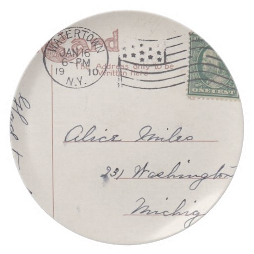 Plates with a Vintage Mailed Postcard Design