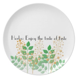 Plates with Herbs Flowers Leaves