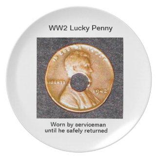 Plates/ WW2 Lucky Penny Melamine Plate