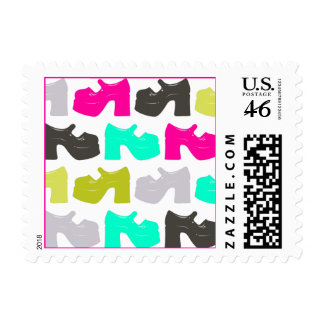 Platform MaryJane Shoes - Cute and Colorful Stamps