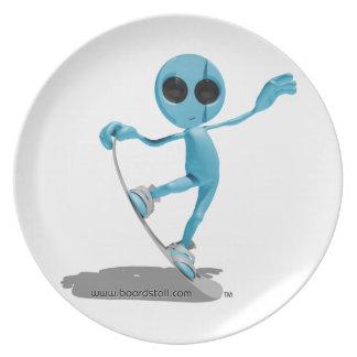 Platillo extranjero azul de la snowboard plato de cena