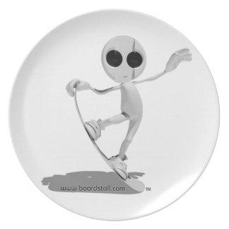 Platillo extranjero blanco de la snowboard platos