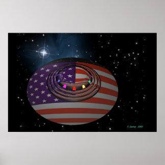 Platillo que refleja la versión 2 de bandera ameri póster