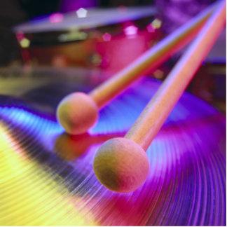 Platillo y palillos redondos del tambor de la extr fotoescultura vertical