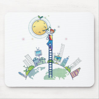 Plating on the moon Funny Photo Earth Ladder Mouse Pad