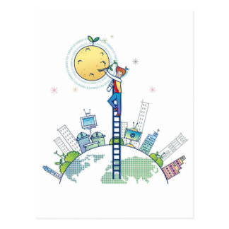 Plating on the moon Funny Photo Earth Ladder Postcard