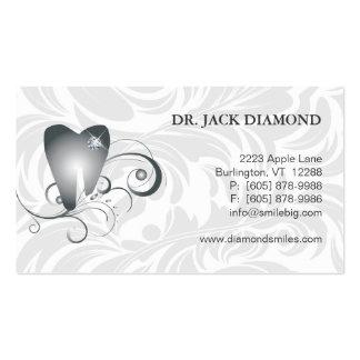 Platino dental 2 del logotipo del diente del diama tarjeta de visita