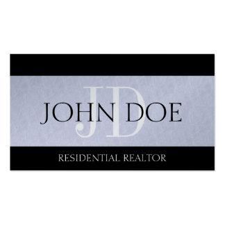 Platino residencial del monograma de las propiedad plantilla de tarjeta de negocio