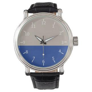 Platino y azul de medianoche reloj de mano