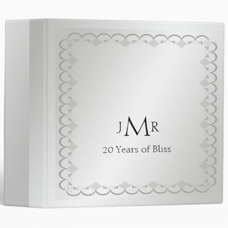 Platinum 20th Wedding Anniversary Binder