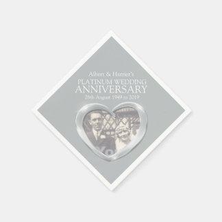 Platinum 70th anniversary heart photo napkins
