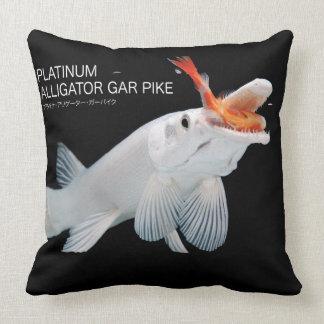 Platinum Alligator Gar Pike Throw Pillow