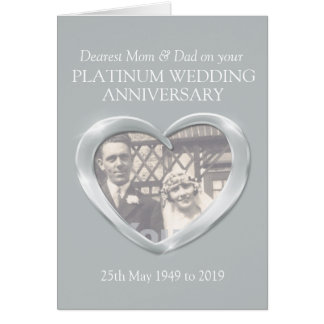 Platinum anniversary mom and dad photo card