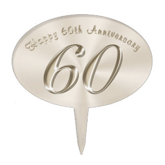 Platinum Color Happy 60th Anniversary Cake Topper