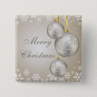 Platinum Gold Christmas Balls and Snow Button