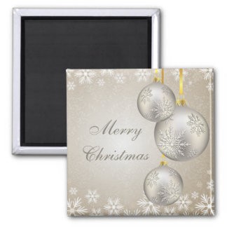 Platinum Gold Christmas Balls and Snow 2 Inch Square Magnet