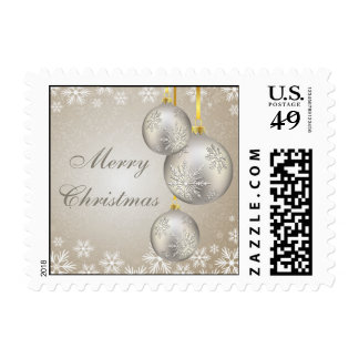 Platinum Gold Christmas Balls and Snow Postage