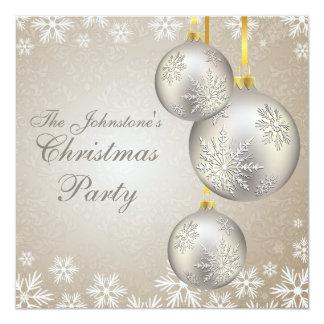 Platinum Gold Christmas Balls Party Card