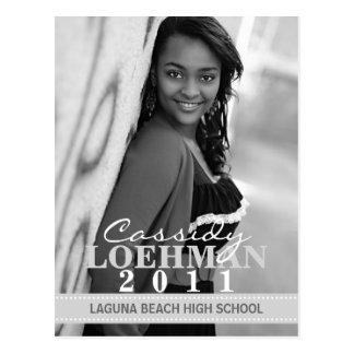 Platinum Grey Custom Photo Graduation Announcement Postcard