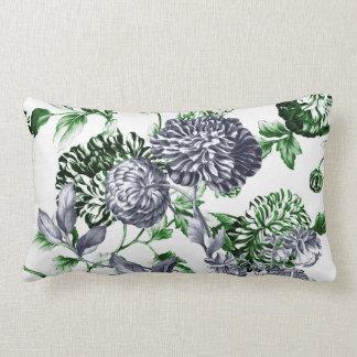 Platinum Grey Green Modern Botanical Floral Toile Lumbar Pillow