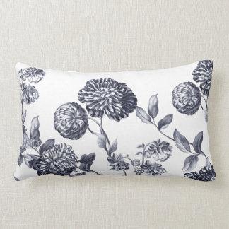 Platinum Grey Modern Botanical Floral Toile Lumbar Pillow