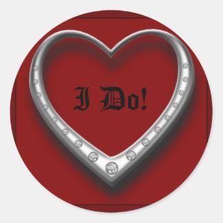 Platinum Heart I Do! Classic Round Sticker