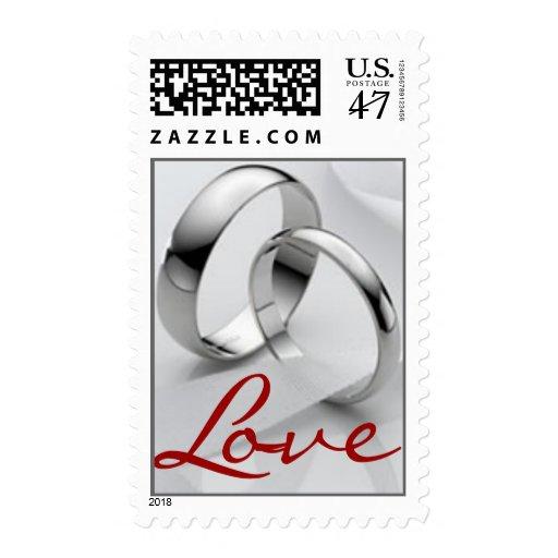Platinum Love Rings Postage Stamp