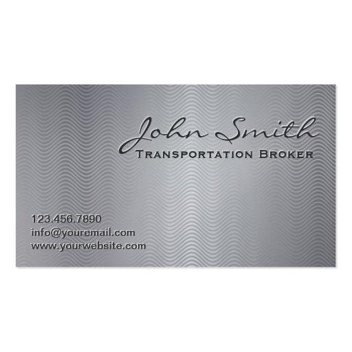 Platinum Metal Transportation Broker Business Card