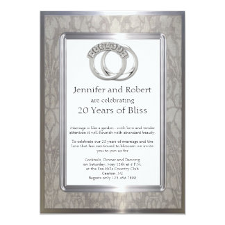 Platinum Rings 20th Wedding Anniversary Invitation