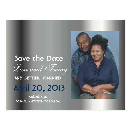 Platinum Save the Date Announcement Postcard