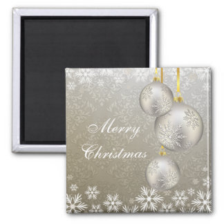 Platinum Silver Christmas Balls Bronze 2 Inch Square Magnet