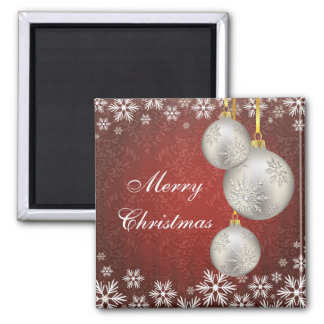 Platinum Silver Christmas Balls Red 2 Inch Square Magnet