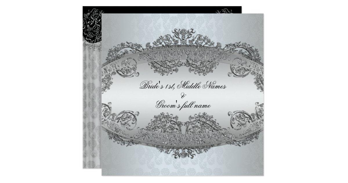 Platinum Silver Damask Frame Wedding Invitations